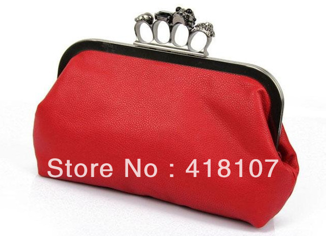 Free Shipping ,Women Lady Skulls Knuckle Black Duster Clutch/Evening Bag PU Leather Ring Bag Clutch Purse Handbag