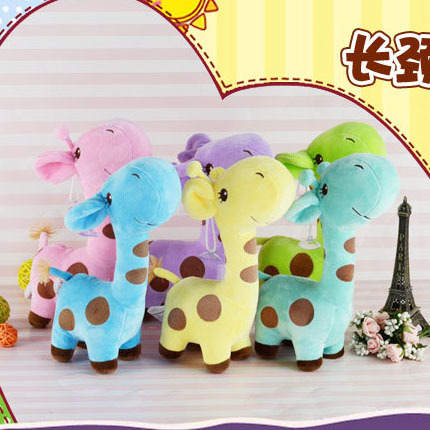 New High Quality Short Plush Stuffed Animal Giraffe Toy With suction cups Christmas Gift Round Spots Sika Deer(China (Mainland))