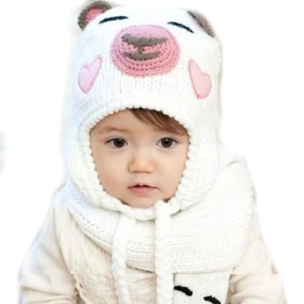 Cute Baby Kids Boys Girls Winter Warm Lace Up Caps Bear Animal Pattern Crochet Knit Wool Earmuff Ear Protector Hat(China (Mainland))