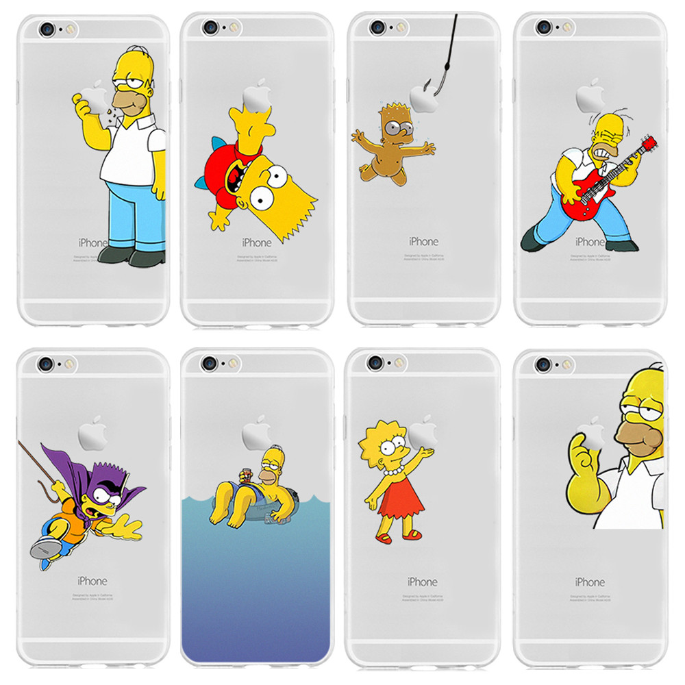 2015 New Cases Transparent For Apple iPhone 6 4.7'' Shell Cases Homer Simpsons Simpson Eat Cover(China (Mainland))