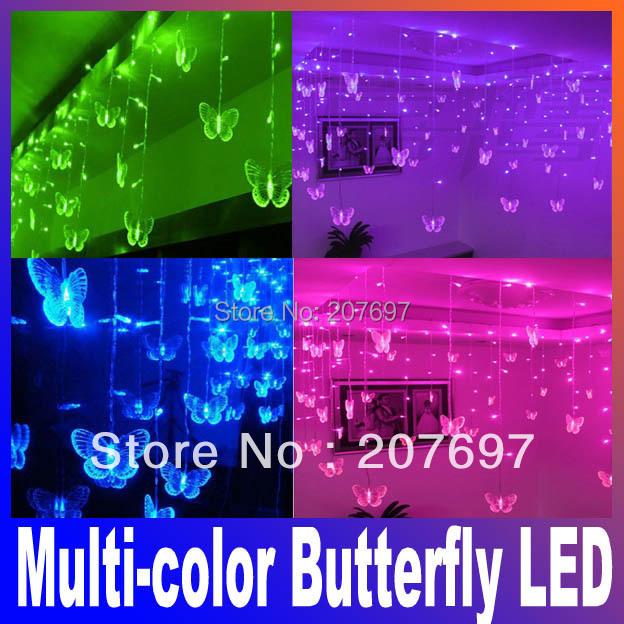 Multi-color Butterfly LED STRING Strip Festival Holiday LIGHTS 3.5m 100SMD 110V/220V EU/US Plug PARTY CHRISTMAS,WEDDING,Doration(China (Mainland))