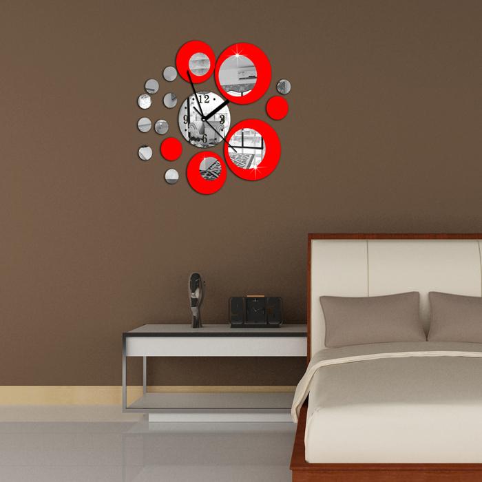 Kimisohand Fashion Red Circle Around 3D Wall Clock Wall Sticker DIY Art Home Decoration(China (Mainland))