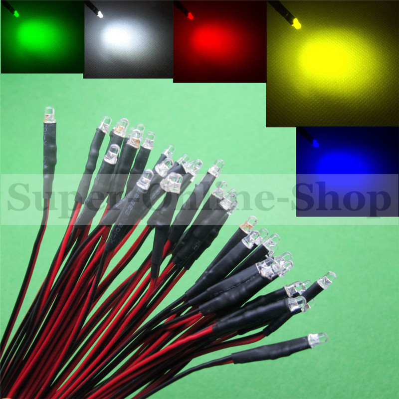 20 PCS LED 3mm Pre-Wired White Red Blue Green Yellow White RGB Pre wired 12V DC Light Bulb led lamp F3 Emitting Diodes 20CM DIY(China (Mainland))