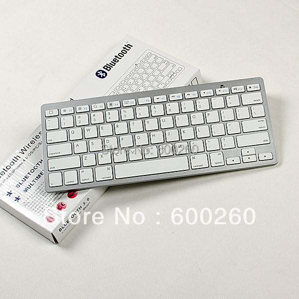 free shipping Bluetooth Wireless White Keyboard for PC Macbook Mac ipad 2 iphone#8371(China (Mainland))