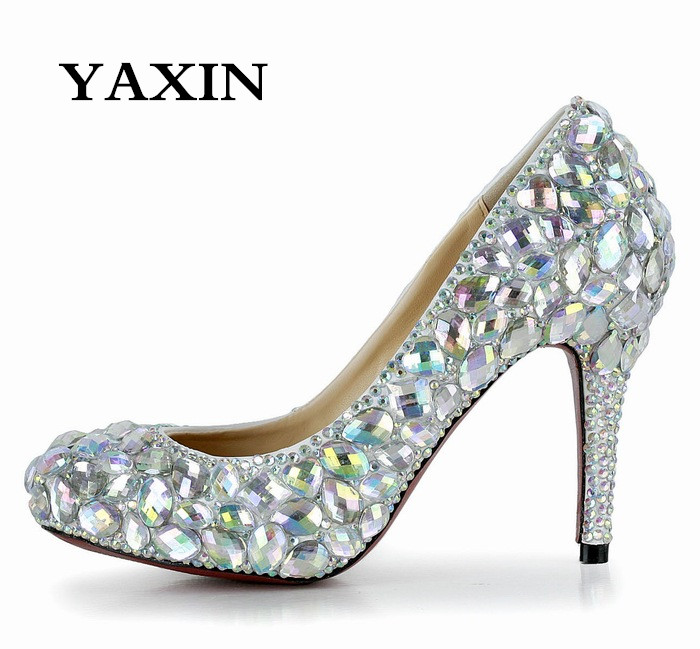 Фотография 2015 Plus Size Multicolour Glass Diamond High-Heeled Wedding Shoes Fashion Women Bridal Shoes