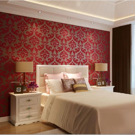 Romantic european velvet 3d background wallpaper red for 3d wallpaper in living room