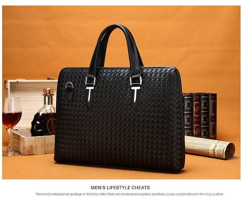 Men Business Synthetic Leather Weaving Briefcase Male Travel Messenger Shoulder Portfolio Laptop Bags Causal Lawer Handbag Bolsa (12)