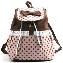 Women Girl Lace Bow Cute Dots Backpack Bag Satchel Tote Handbag Bookbag white(China (Mainland))