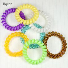 10PCS/lot Women Ladies Girls Hair Bands Colorful Elastic Rubber Telephone Wire Style Hair Ties & Plastic Rope Hair Accessories