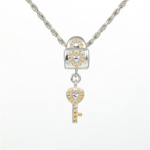 S925 стерлингового серебра Jewerly замок и ключ с камнями бусины DIY стерлингов - серебристо-ювелирные подходит пандора Chamilia подвески браслеты