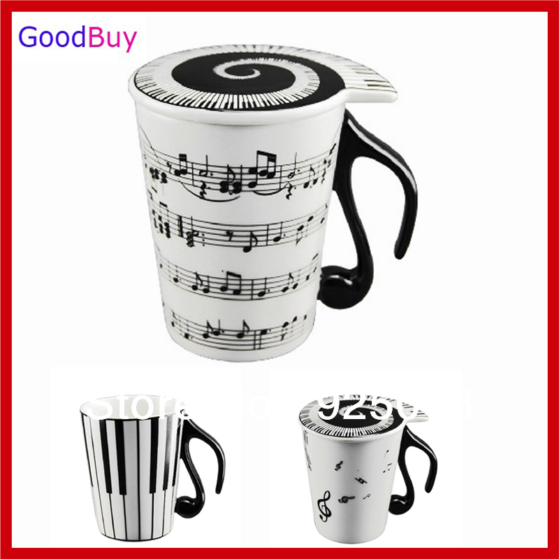 Novelty Creative White Music Cup Notes Piano Keyboard Ceramic Cup Porcelain Mug Coffee Cup with Cover Gift(China (Mainland))
