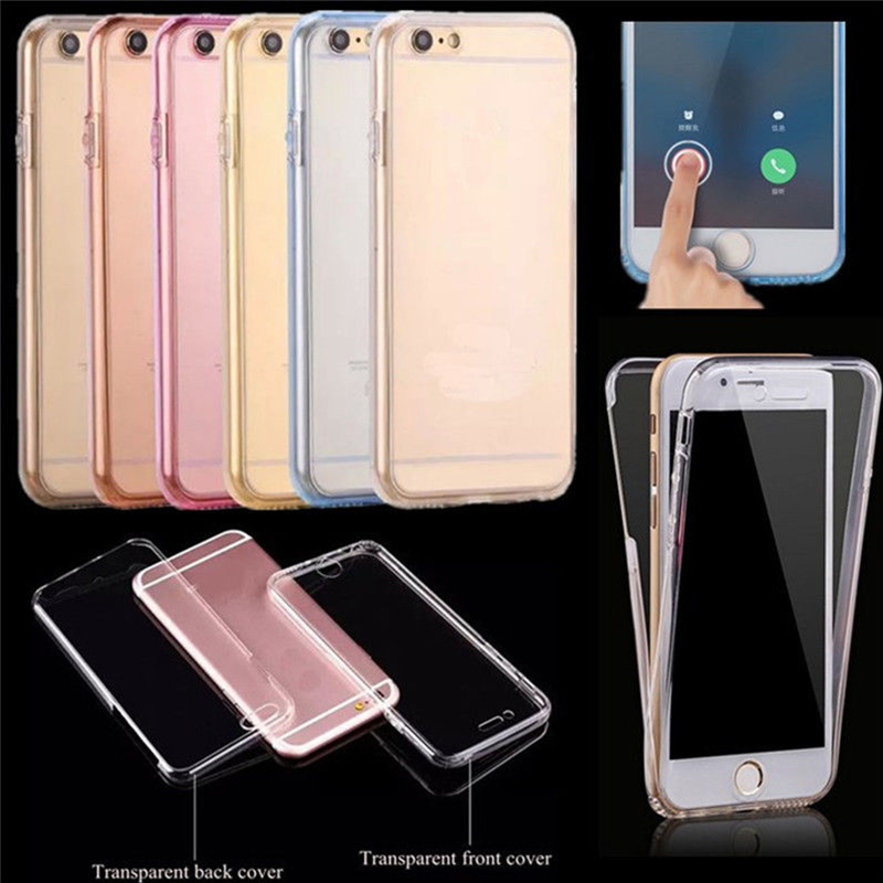 360 Degree Case Cover for iPhone 5s 5 SE 6s 6 Plus Front Back Cover Case Clear TPU Soft Gel Shell Full Coverage Clear Cover Case(China (Mainland))