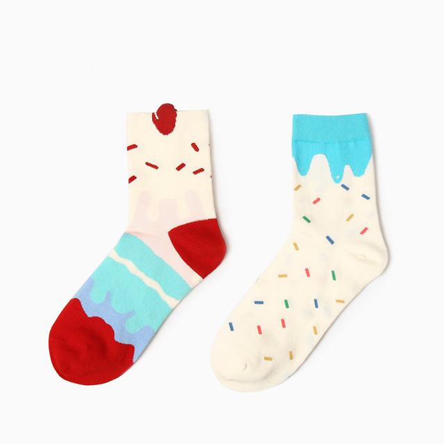Корейский каваи рождество трубке носки женщины симпатичные мороженое мультфильма носки зимой сладкий красочные чистого хлопка носок для женщин