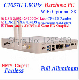 2014 NEW Intel Celeron C1037U aluminum fanless dual core living room HTPC Barebone Mini- PC with USB 3.0 HDMI 2 RJ45 TF SD Card(China (Mainland))