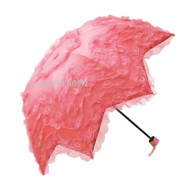 2015 new lace umbrella for women tree folded princess sun and rain parasol flouncing lace princess girls/kids umbrella(China (Mainland))
