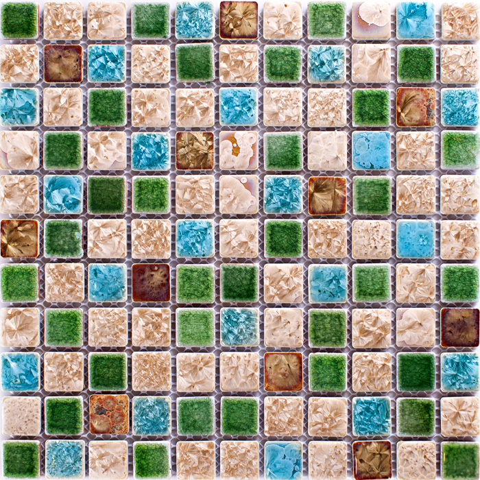 TST Ceramic Mosaics Green Blue &amp; Beige Fambe Flower Shower Wall Floor Kitchen Backsplash Tiles Porcelain Mosaic Tile Wall Art<br><br>Aliexpress