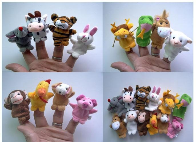 2015 New Free shipping Children's toys twelve zodiac animal finger puppets Plush Finger Puppets educational toys 12PCS(China (Mainland))