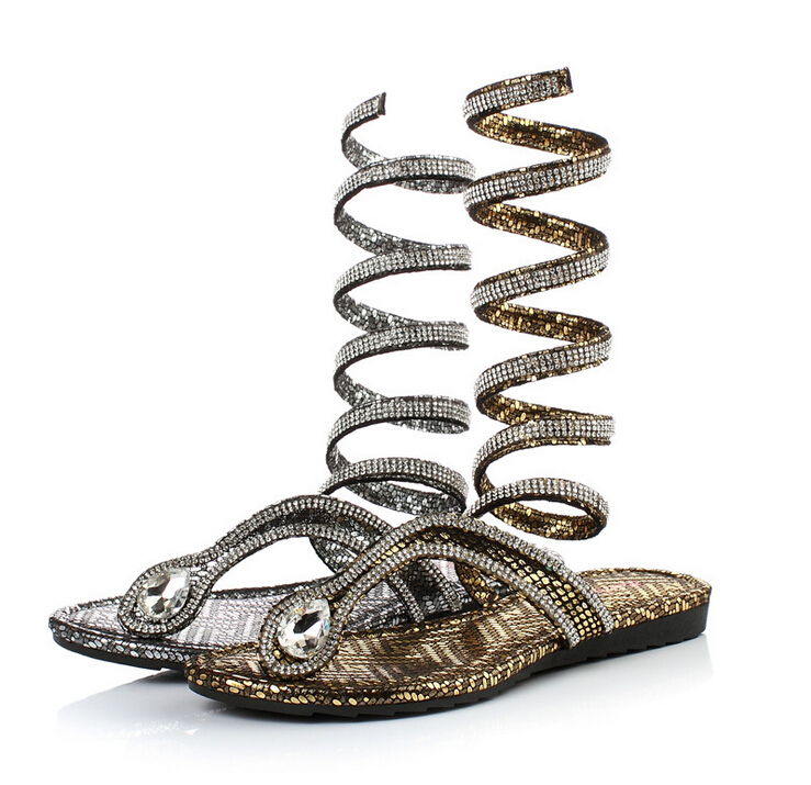 Retail european pu womens sandals gold snake wound   bandage summer slippers with rhinestone Rome style fashion sandals women<br><br>Aliexpress