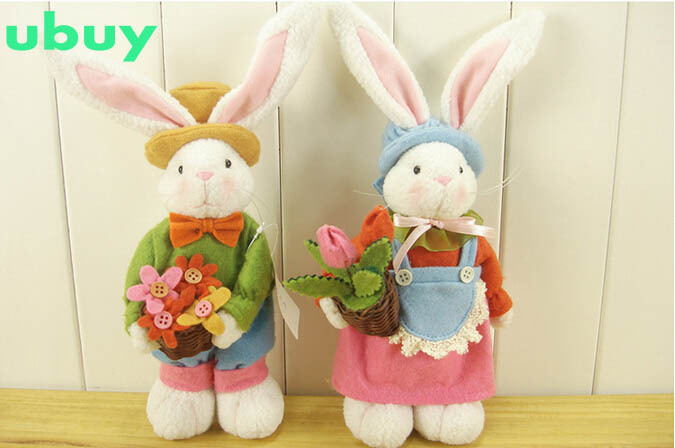 New 2pcs/lot easter bunny plush doll best gift for baby soft easter rabbit plush toy with long ears appease rabbit free shipping(China (Mainland))