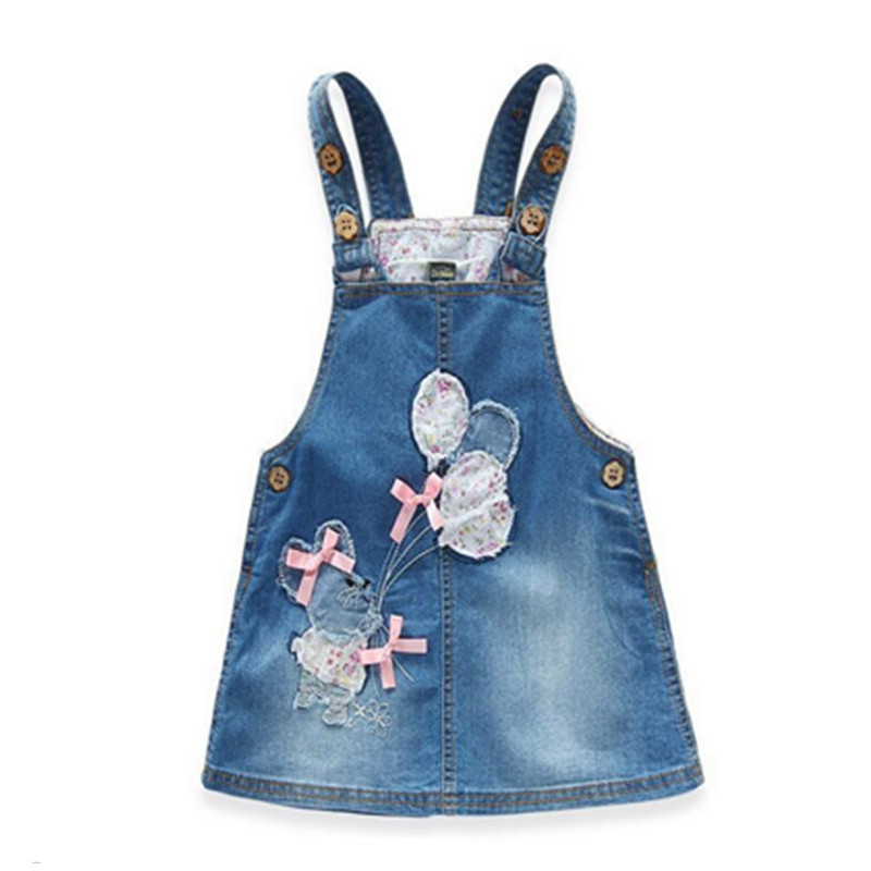 Girls denim vest dress,cute cartoon embroidery pattern kids clothes,next clothing style children's clothing (3-8 yrs)(China (Mainland))