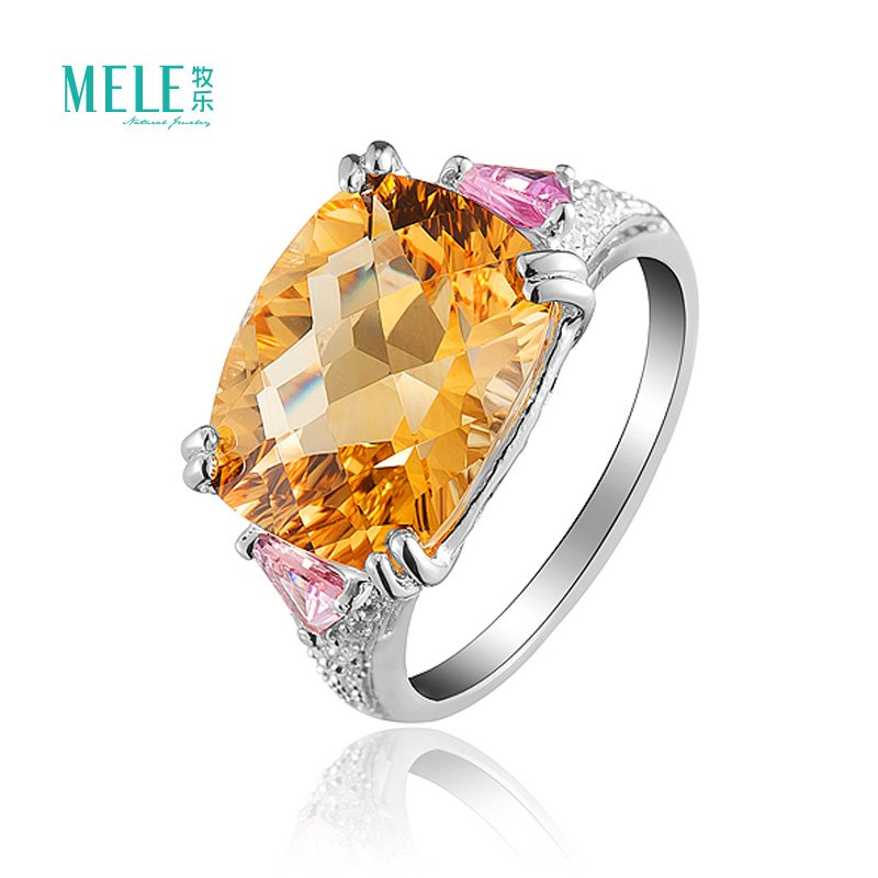 Women Fashion 925 Sterlling silver Yellow&amp;Purple&amp;Pink &amp;White Crystal Ring ,Good quality,Direct factory price.<br><br>Aliexpress