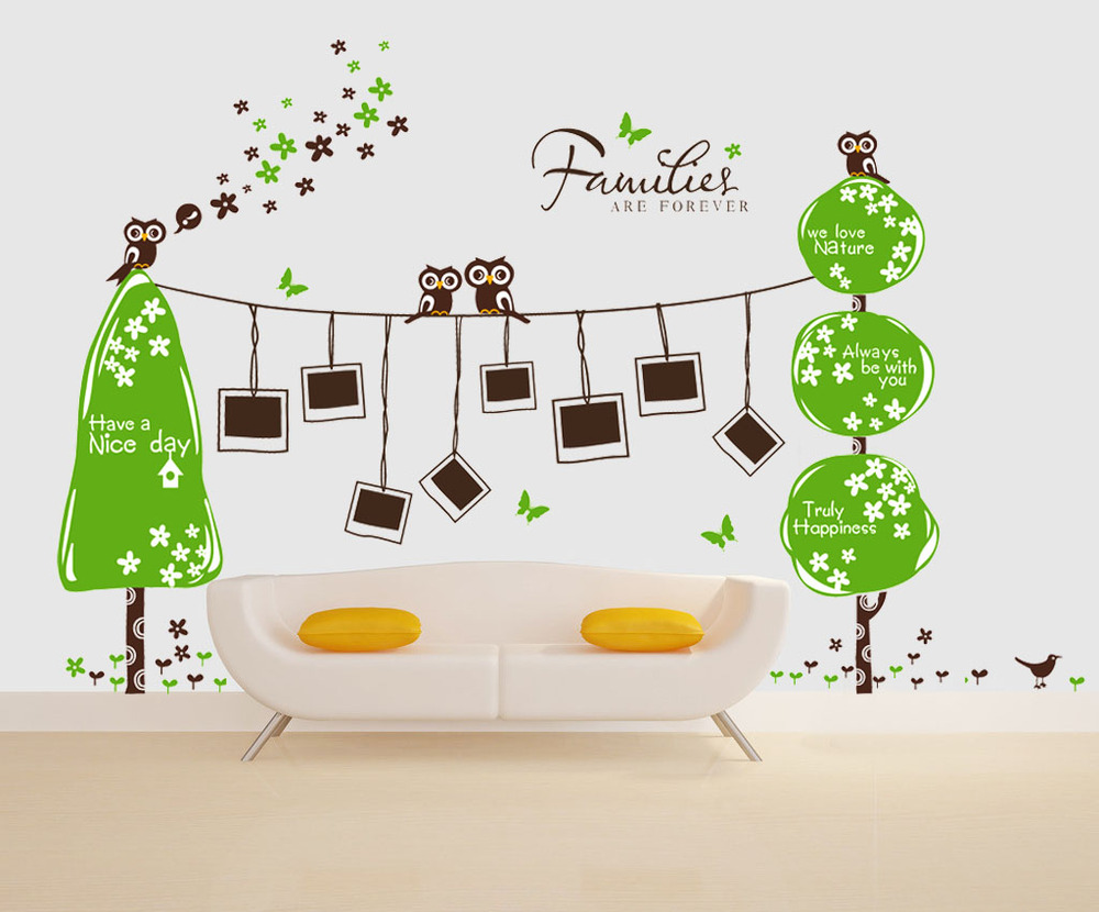 2015 design extra large 160x300cm owl wall sticker photo frame family tree