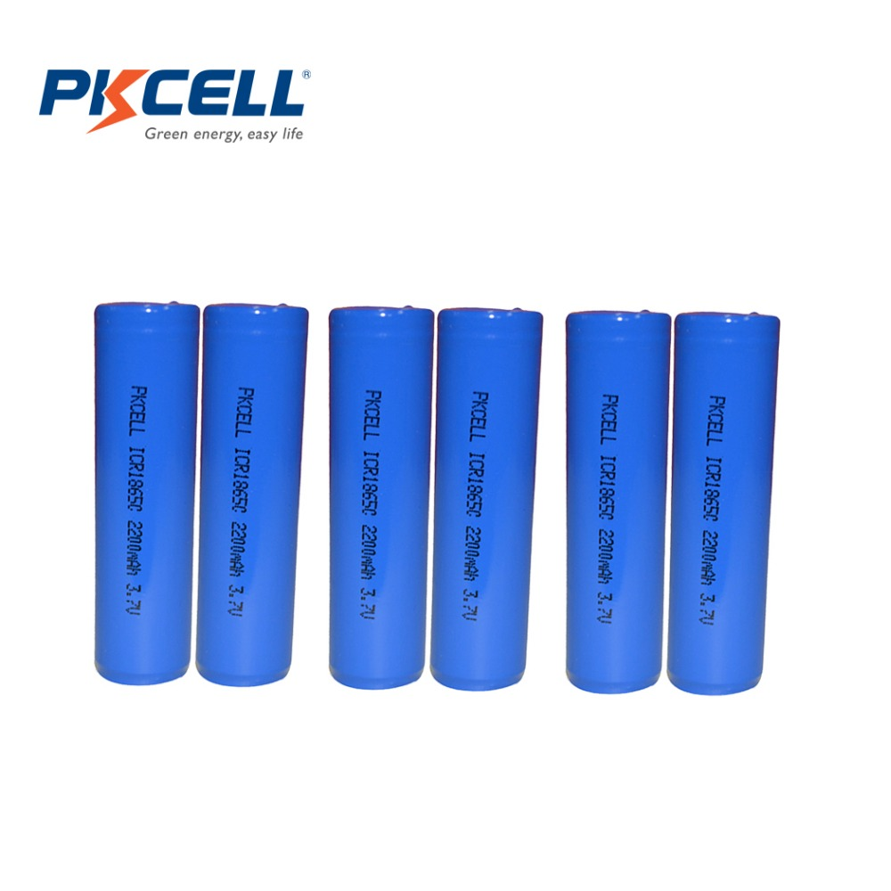 Гаджет  6Pcs/lot PKCELL 3.7V 2200mAh 18650 Rechargeable Li-ion Lithium Battery ICR18650 2200 mAH Batteries None Электротехническое оборудование и материалы