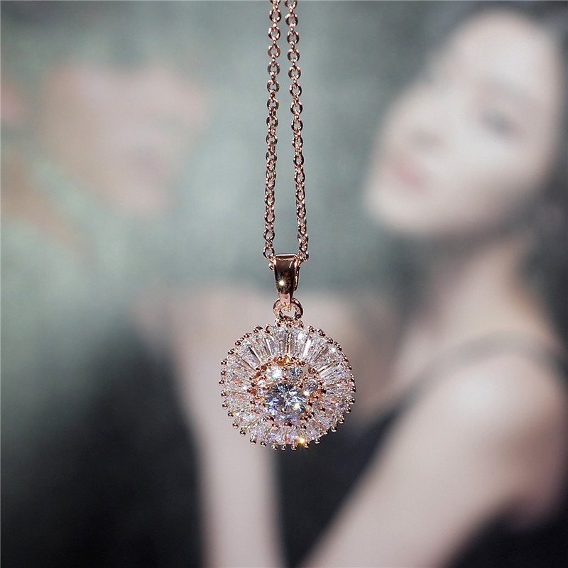 Le Baiser 18K Rose Gold Plated Cubic Zircon CZ Wedding Gift Unique Design Pendant Copper Chain Necklace for women Valentine Gift(China (Mainland))
