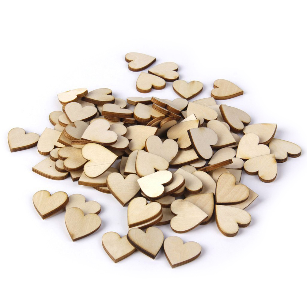 100pcs 20mm Blank Heart Wood Slices Discs for Wedding DIY Crafts Embellishments Christmas Decoration(Wood Color)(China (Mainland))