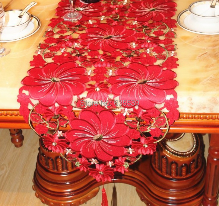 christmas sequin elegant red big flower table runner coffee bar table cover fabric embroider table flag simple modern home deco(China (Mainland))