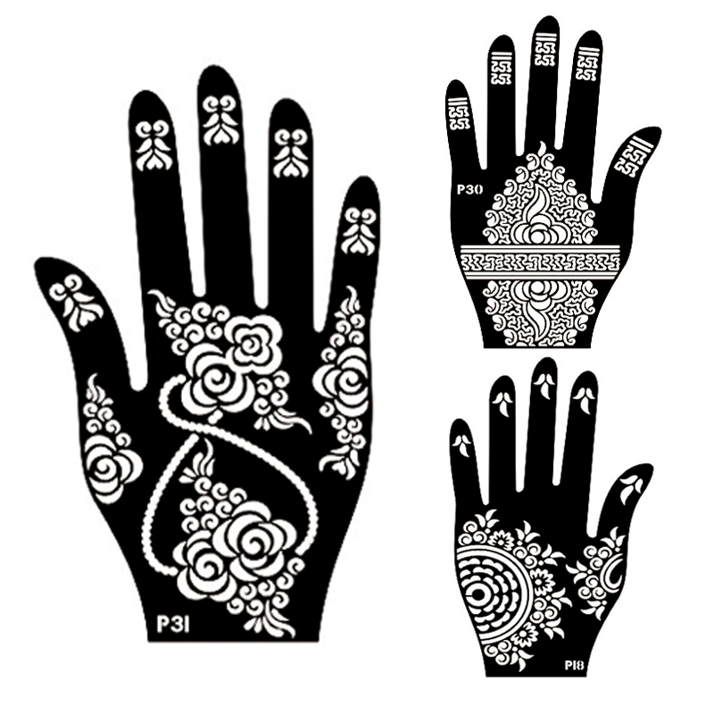 Buy 2pcs left right hand mehndi henna for Henna temporary tattoo stencils