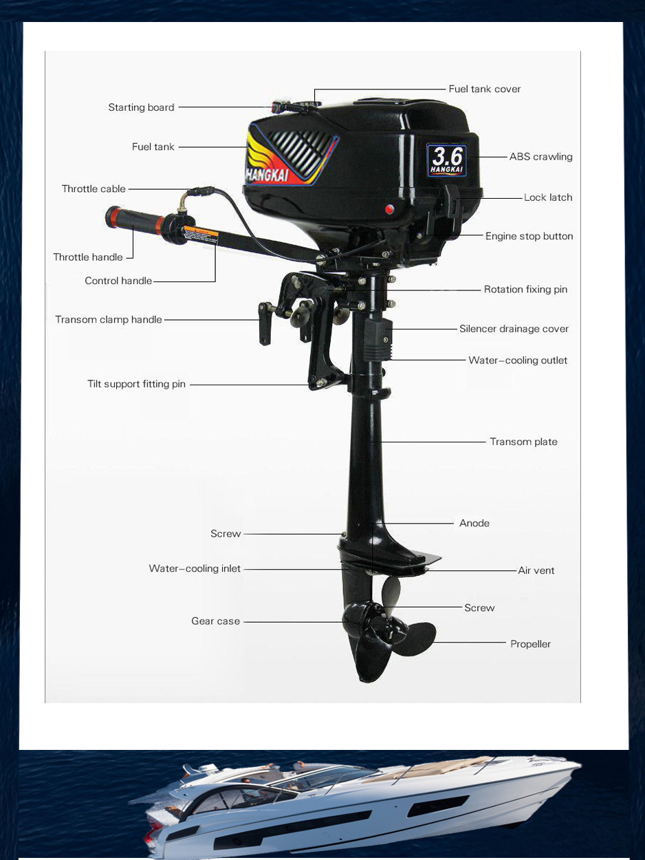 2015 New Design Best Quality 2-stroke 3.6HP HANGKAI outboard motor boat engine water cooled (3.6. 2T)(China (Mainland))
