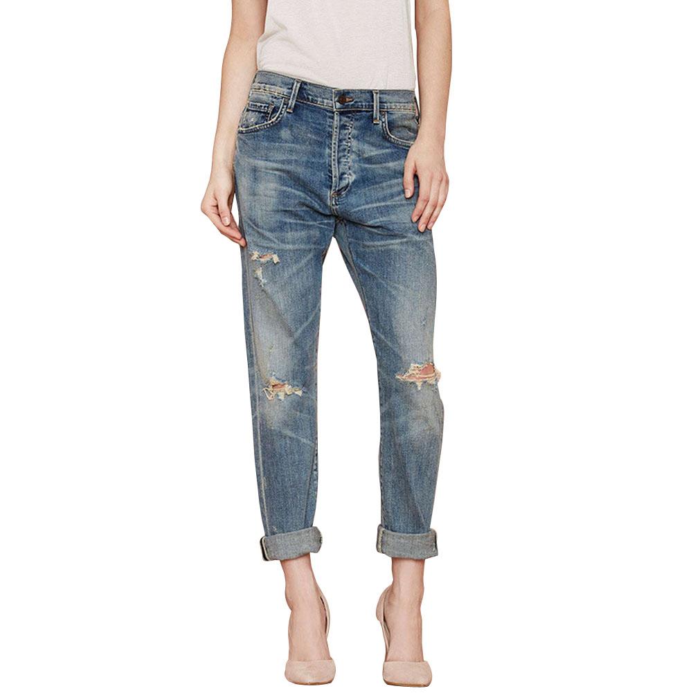 2015 New Fashion Women Denim Pencil Pants Boyfriend Rinse Vintage Ripped Jeans With Pocket Leisure Hole Pants E2shopping(China (Mainland))
