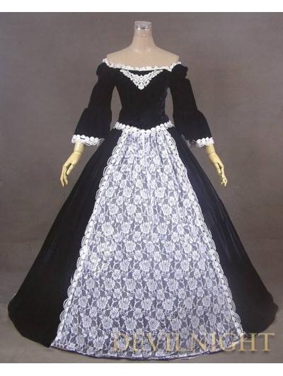 Black Off-the-Shoulder Velvet Lace Victorian Ball Gowns Victorian Dresses BlackОдежда и ак�е��уары<br><br><br>Aliexpress