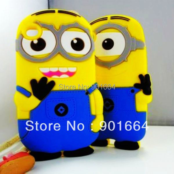 Free Shipping 10pcs/lot NEW 3D DESPICABLE ME MINIONS soft silicone case cover for ipod touch 4 4g 4th generation(China (Mainland))