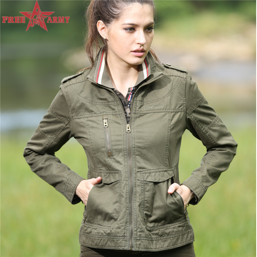 MIlitary quality new spring women fashion army green embroidery stand collar slim shorts Outerwear jackets GS-823(China (Mainland))