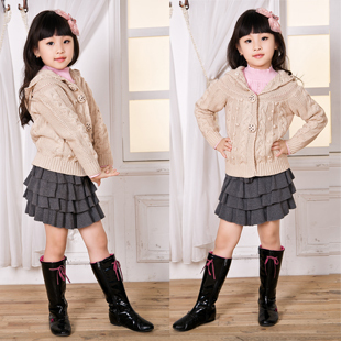 Free Shipping Kids Hooded Sweaters with Button Design Girls Fashion Pullover A2923