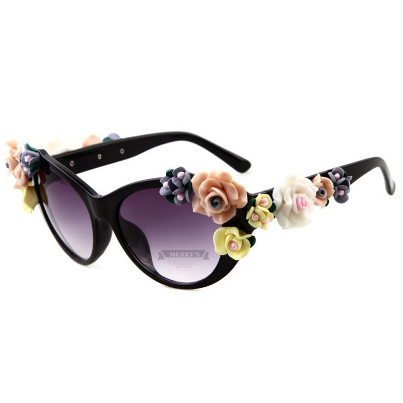 Fashion Oversized Women's Girls Sunglasses Retro Decor Floral Rose Flower UV Glasses New Brand Sun Glasses Oculos De Sol
