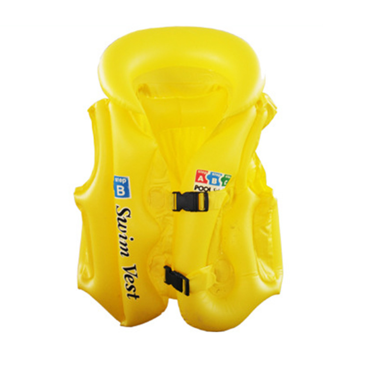 Free Shipping Hot Child Safety Thick PVC Inflatable Life Jacket Swimsuit Kids Inflatable Life Vest Baby Swimming Vest Clothing(China (Mainland))