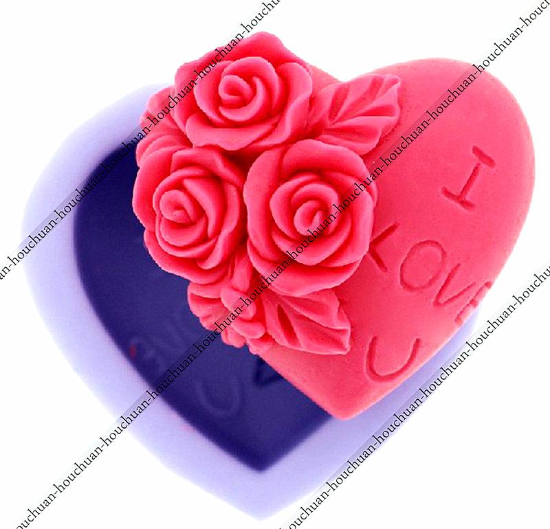 "Valentine's Day Creative Cake Mold,Rose Flower ""I love you"" Heart Shape Fondant Chocolate Mould Silicone Soap Candle Fimo Mold(China (Mainland))"
