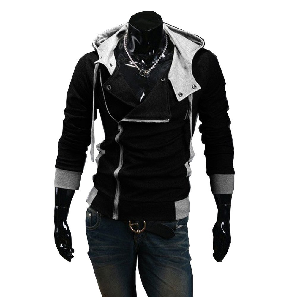Autumn & Winter Oblique Zipper Casual Slim long sleeve hiphop Assassin Creed Hoodies Sweatshirt Outerwear Jackets - Brmos's world International Trading Co.,Ltd. store