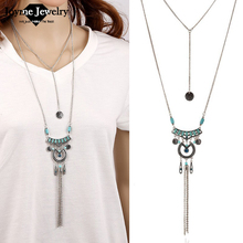 High Quality Bohemian Vintage Necklace Antique Silver Blue Turquoise Jewelry Long Tassel Necklace &Pendants For Women(China (Mainland))