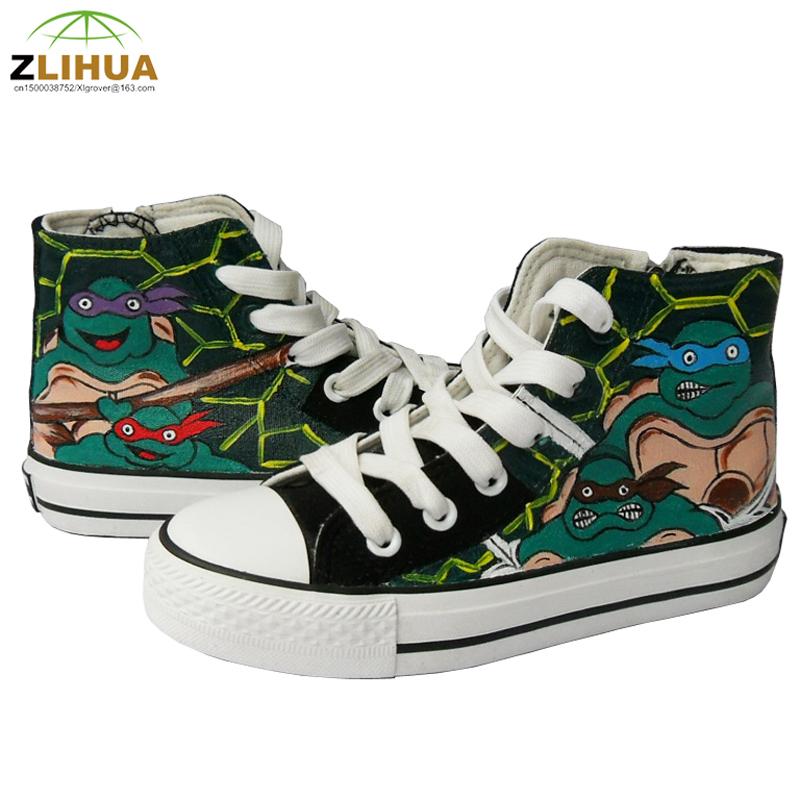 LUC Kids Hand Painted Canvas font b Shoes b font Adventure Time Despicable Me Minion TMNT
