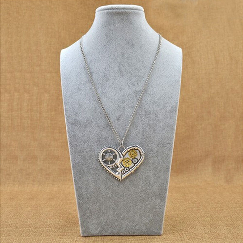 Fashion Steampunk Silver Heart Machinery Gear Rivet Pendant Necklace Personality Gift for Men Women(China (Mainland))