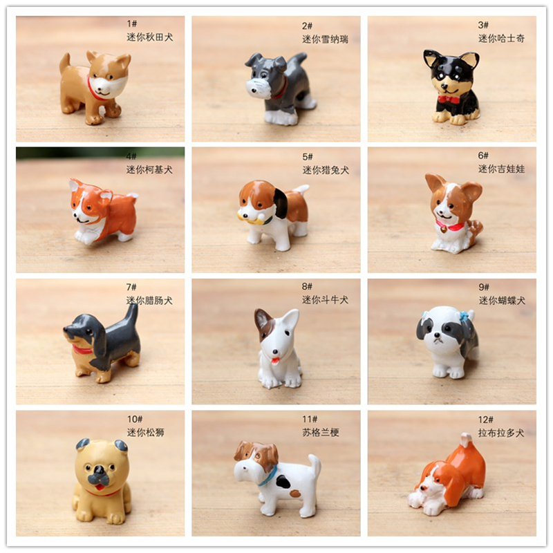 14designs dogs cute animals fairy garden miniatures mini gnomes moss terrariums resin crafts figurines for garden decoration(China (Mainland))