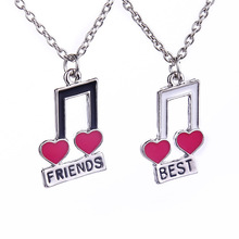 Elegant Musical Notes Hearts Shaped Necklaces Best Friends For Girls Friends Witness Love Forever Friendship Set Necklace Gift(China (Mainland))