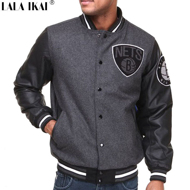 Mens Baseball Jacket With Leather Sleeves - Coat Nj