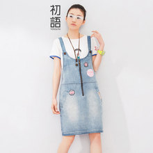 Toyouth 2016 Summer New Arrival Women Suspender Dress Denim Preppy Style One-Piece Dress Lady Knee-Length Sleeveless Dress(China (Mainland))