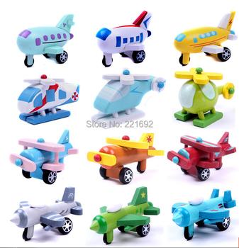 2015 New Children's wooden small plane 12 models cute mini baby car toys home decor 12pcs/set