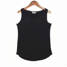 2016 New Spring Summer Tank Tops Women Sleeveless Round Neck Loose T Shirt Ladies Vest Singlets Color Black Rose White Blue Grsy(China (Mainland))